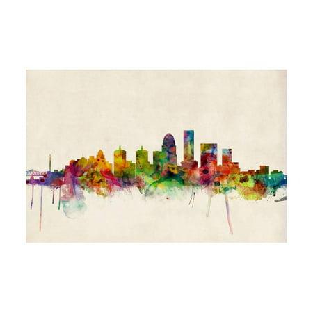 Louisville Kentucky City Skyline Laminated Print Wall Art By Michael Tompsett (Party City Louisville Kentucky)