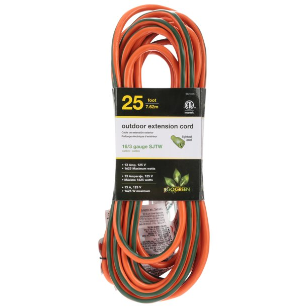 GoGreen Power 16/3 13725 25' Heavy-Duty Extension Cord, Lighted End
