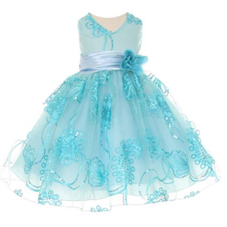 Baby Girls Aqua Blue Tulle Embroidery Sequins Flower Girl Dress 3M