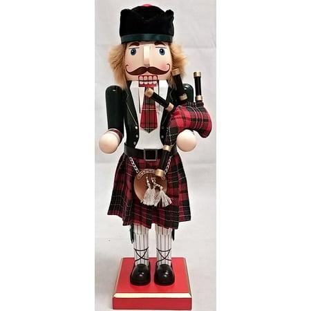 Scottish Bagpiper Wearing a Kilt Wooden Christmas Nutcracker 14 Inch