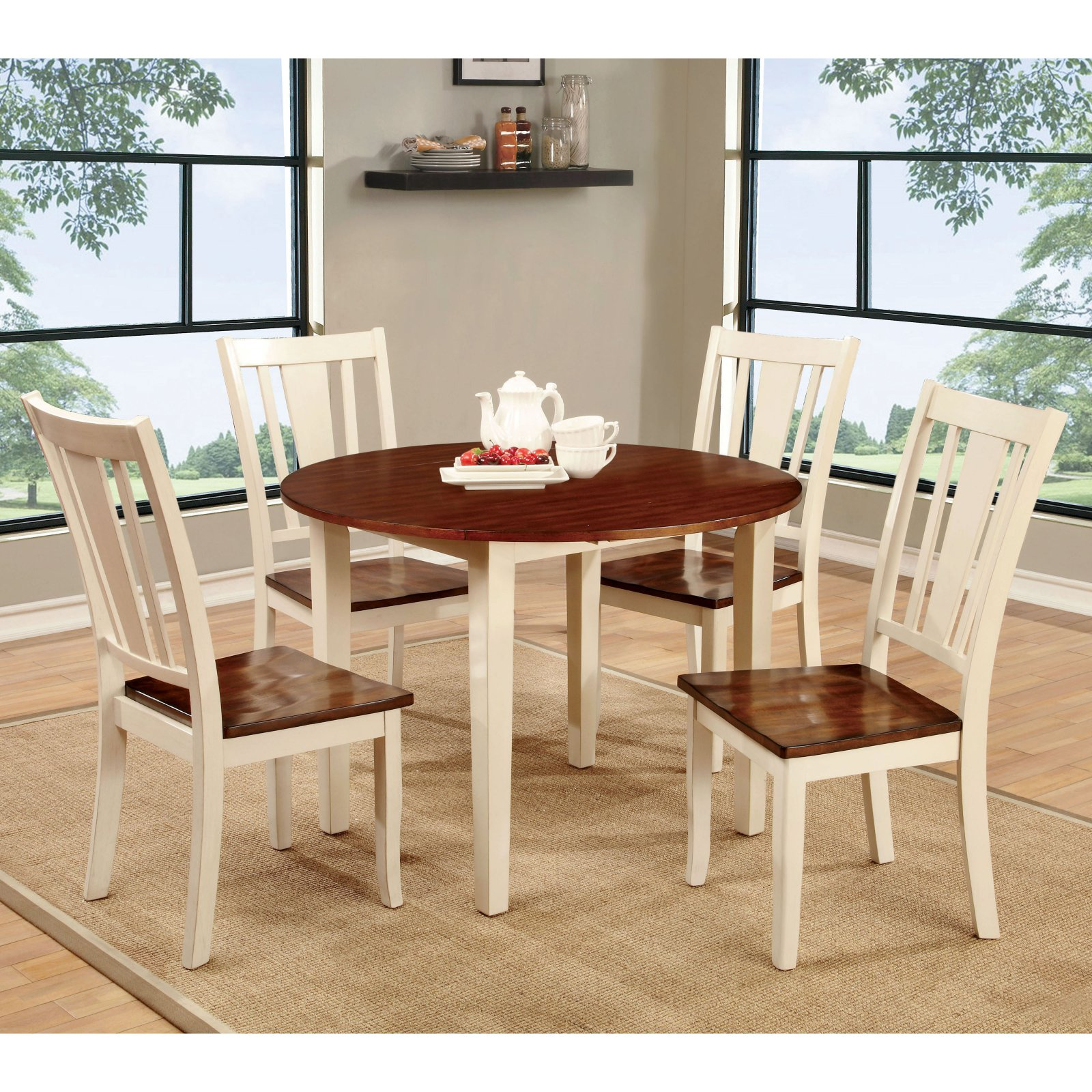 Furniture of America Lohman 5 Piece Dual-Tone Dining Table Set