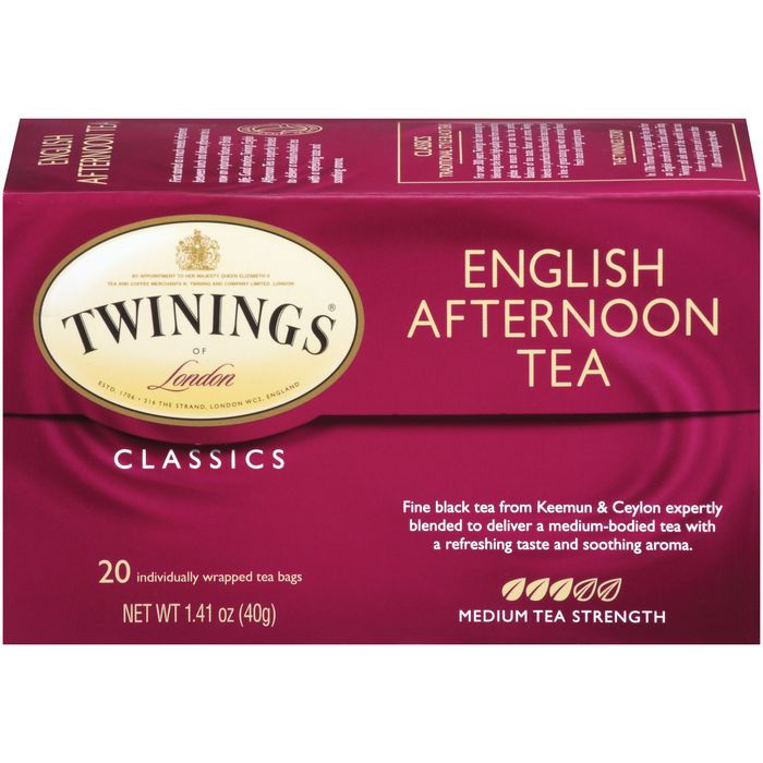 Twinings of London Classics English Afternoon Medium  Tea Bags 20 Ct  (Pack of 6)