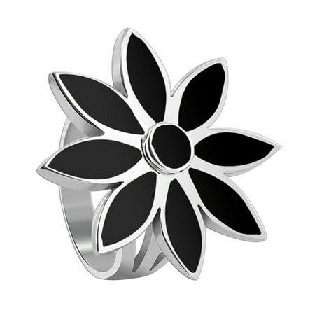 Gem Avenue 925 Sterling Silver Black Onyx Stone Floral Design Ring