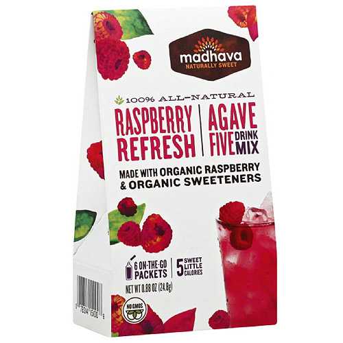Madhava AgaveFIVE Raspberry Drink Mix, 0.88 oz, (Pack of 6)