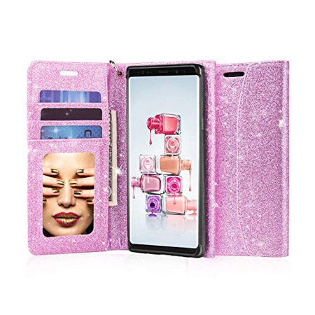 J&D Galaxy Note 9 Case, [Glittering] [Mirror Function] [RFID Blocking] Sparkling Heavy Duty Shock Resistant Flip Cover Wallet Case with Card Slots and Makeup Mirror for Samsung Galaxy Note 9 - (Make Your Own Case Samsung Galaxy S4)
