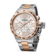 TW Steel Mens XXL Chronograph Stainless Steel Case and Canteen Bracelet Silver Dial Two-tone Watch - CB124