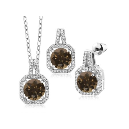 6.47 Ct Round Brown Smoky Quartz Rhodium Plated Pendant Earrings -