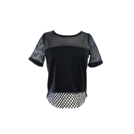 Kiind Of Caviar Short-Sleeve Mesh-Paneled Crop Top