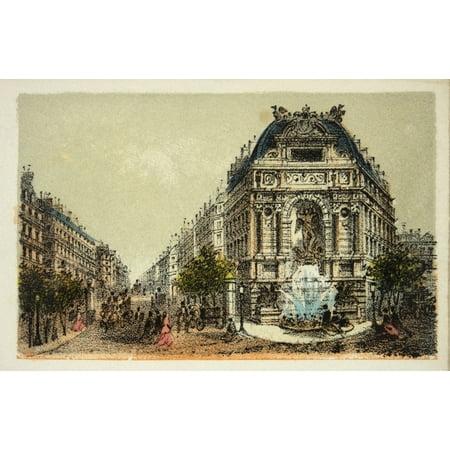 Gravure  Paris En 1874  La Fontaine Saint Michel  Coll Canvas Art     36 X 24