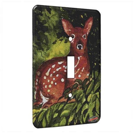 KuzmarK™ Single Gang Toggle Switch Wall Plate - Whitetail Deer Fawn in Hiding Wildlife Art by Denise Every