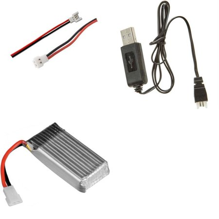 HobbyFlip 3.7v 380mAh LiPo Battery w/ Charger and Connector Wires Compatible with RC
