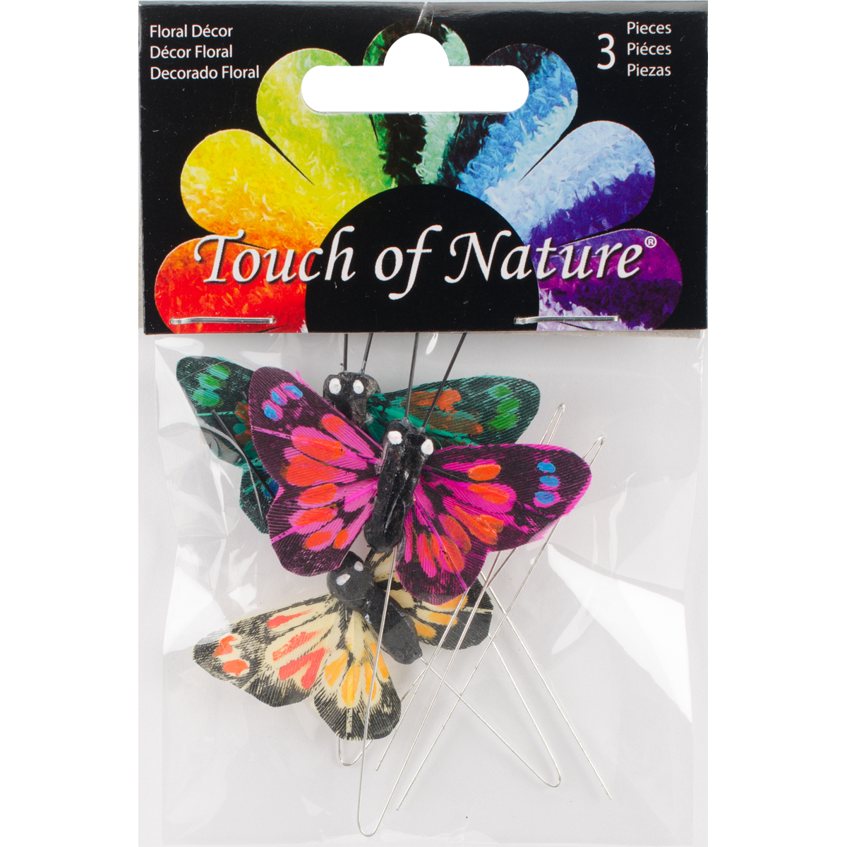 "Butterflies W/Wire 1.75"" 3/Pkg-Blue, Yellow & Pink"