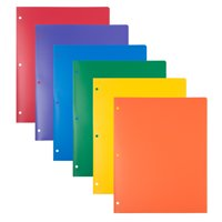 JAM Heavy Duty Plastic 3 Hole Punch Folders with Pockets, Assorted Primary Colors, 6 pack