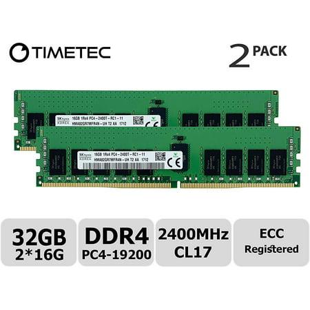 Timetec Hynix Original 32GB KIT(2x16GB) DDR4 2400MHz PC4-19200 Registered ECC 1.2V CL17 1Rx4 Single Rank 288 Pin RDIMM Server Memory RAM Module Upgrade (32GB KIT(2x16GB))