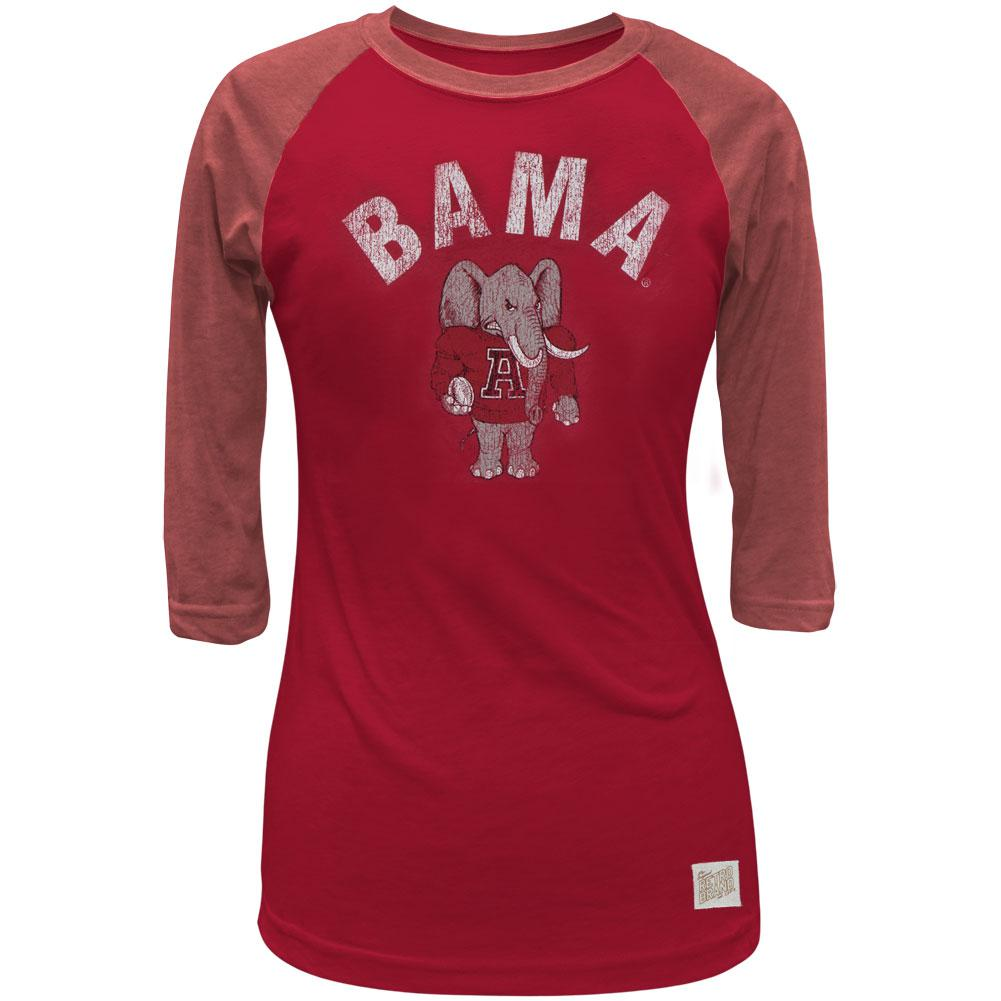 Alabama Crimson Tide - Bama and Elephant Juniors 3/4 Sleeve Raglan