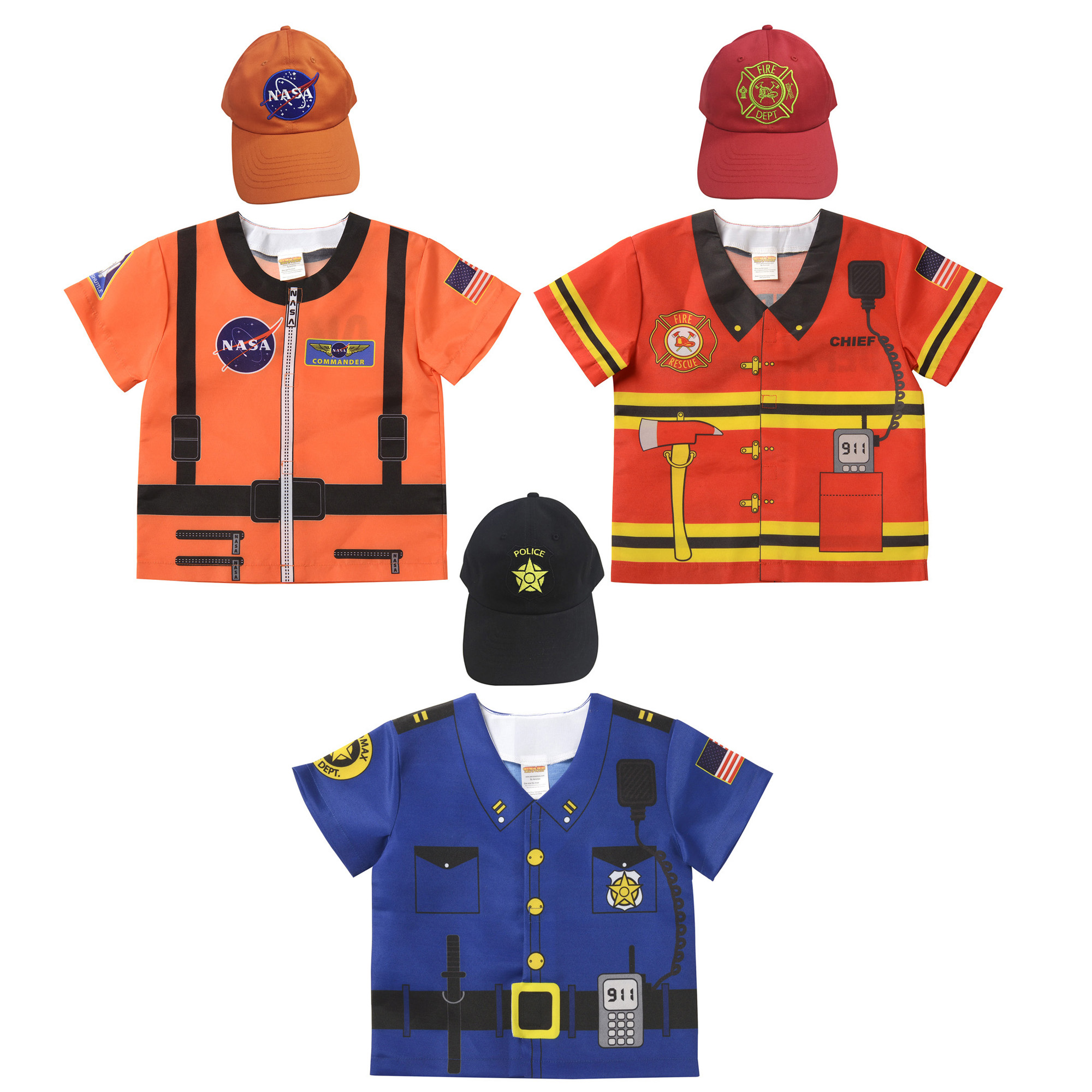 My 1st Career Gear Top & Cap Set, Astronaut Top, Firefighter, Police, 6 Pieces by Aeromax