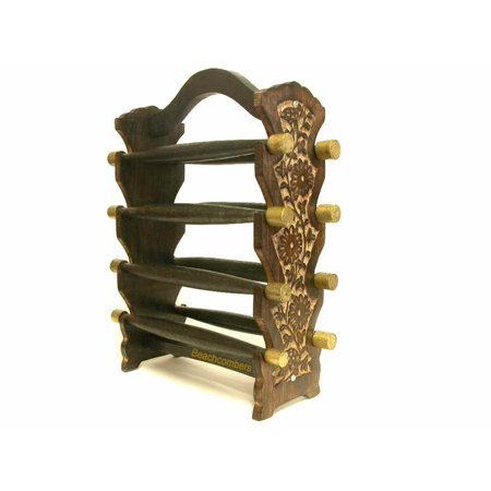 (Tall Tabletop Jewelry Stand Wooden Bangle Bracelet Display Handcarved Indian Handicraft)