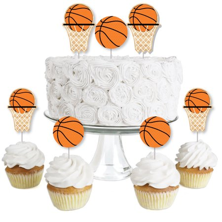 Orange And Black Halloween Cake (Nothin' But Net - Basketball Dessert Cupcake Toppers - Baby Shower or Birthday Party Clear Treat Picks - Set of)