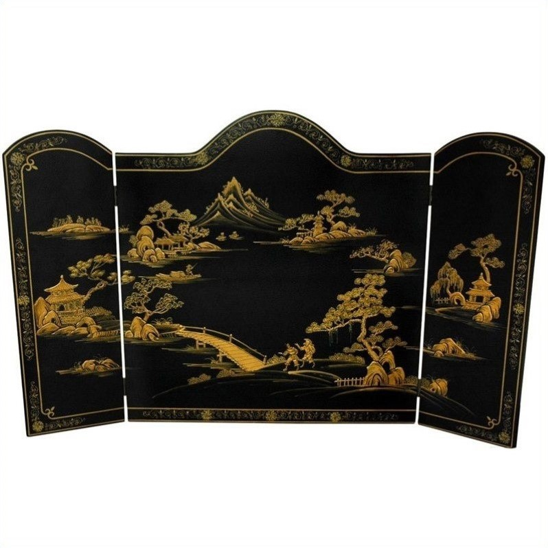 Oriental Unlimited Black Landscape Lacquer Fireplace Screen by Oriental Furniture