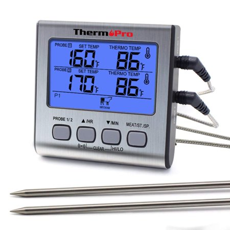 ThermoPro TP17 Dual Probe Digital Cooking Meat Thermometer Large LCD Backlight Food Grill Thermometer with Timer Mode for Smoker Kitchen Oven (Dual Digital Thermometer)