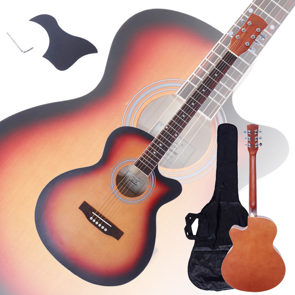 "Zimtown New 40"" Adult 6 Strings Cutaway Folk Acoustic Guitar Wood Color with Bag"