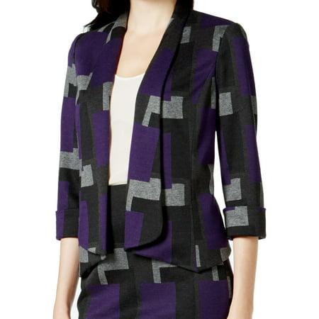 ec2fe8b8ec9 Kasper - Kasper NEW Purple Gray Womens Size 18 3 4 Sleeves Open Front Blazer  - Walmart.com