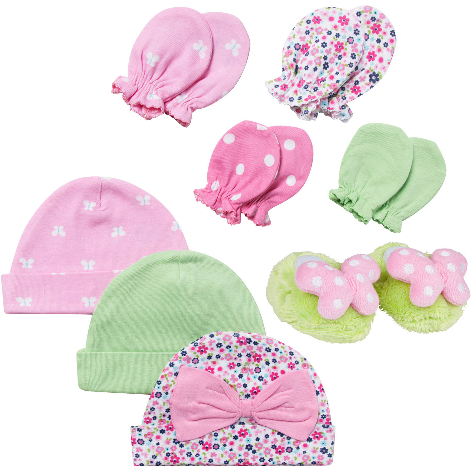 Gerber Newborn Baby Girl  Pink 8 Piece Accessory Set ( Caps - 3 Pack, Mittens - 4 Pack and Velboa Bootie)