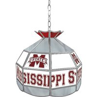 """Trademark Global Mississippi State University 16"""" Stained Glass Tiffany Lamp Light Fixture"""
