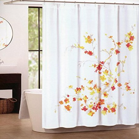 Tahari Home Printemps Shower Curtain In Floral Orange Red Yellow And Tan On White 72 X