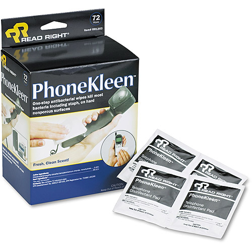 "Read Right PhoneKleen Wet Wipes, Cloth, 5"" x 5"", 72pk"