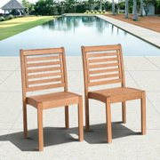 Amazonia Stackable Eucalyptus Outdoor Chair Set without Arms