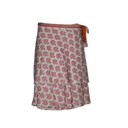 Mogul Womens Short Wrap Skirt Red Printed Two Layer Reversible Silk Sari Beach Skirts