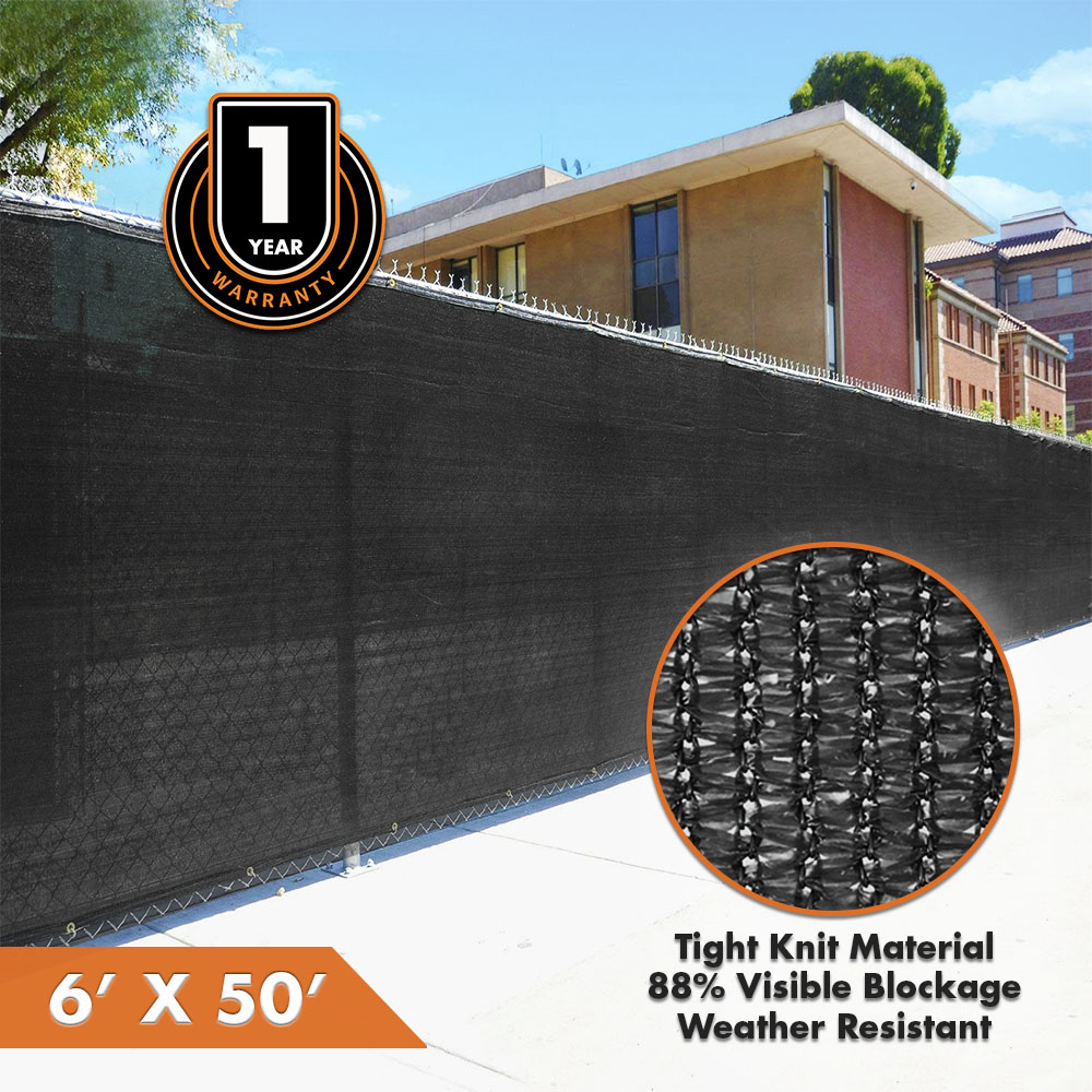 NEW 6' x 50' Black Fence Wind Privacy Screen Fabric Mesh with Grommets 6x50 | 1 YEAR LIMITED WARRANTY