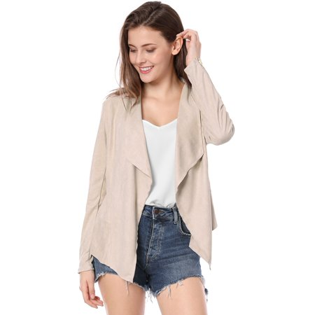 Unique Bargains Women's Zip Up Cuffs Draped Faux Suede Jacket Light Pink (Size - Light Pink Coat