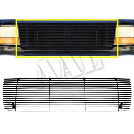 AAL BLACK BILLET GRILLE / GRILL INSERT For 1992 1993 1994 1995 1996 1997 FORD BRONCO / F-SERIES PICKUP 1 PC UPPER REPLACEMENT Black 1992 1996 Ford F-series Pickup