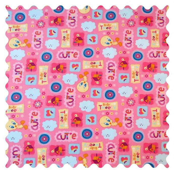 SheetWorld Baby Tweety Pink Fabric - By The Yard