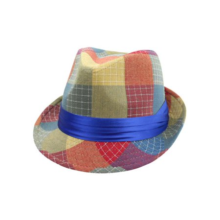 Blue Quilted Fedora Hat With Checker Patchwork