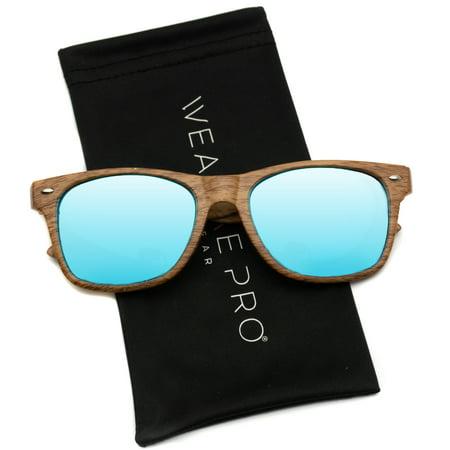 WearMe Pro - Faux Wood Reflective Revo Color Lens Horn Rimmed Style (Revo Color)