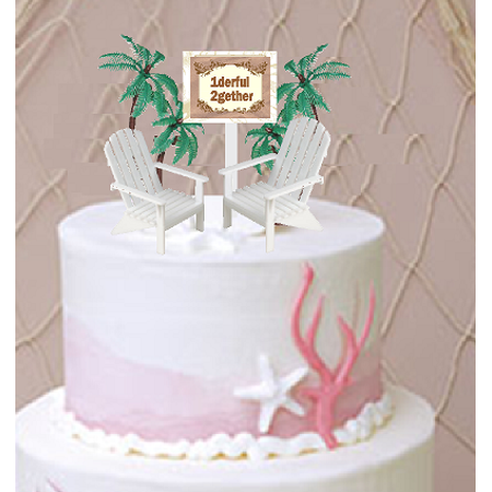 1derful 2gether with 2 Beach Chairs Wedding/ Anniversary Cake Decoration Topper with