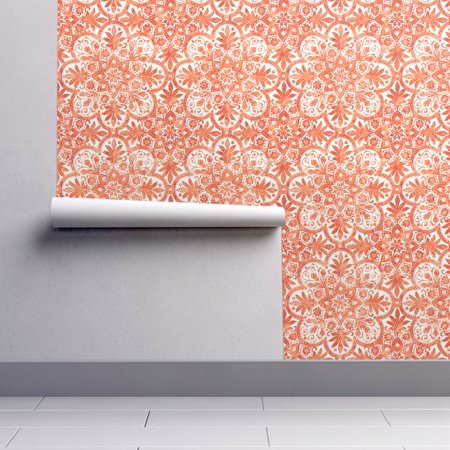 Peel-and-Stick Removable Wallpaper Tile Tile White Orange Halloween Orange And (Halloween Wallpaper Live)