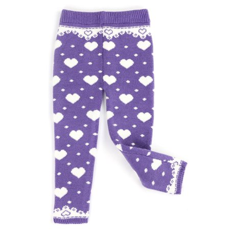 Infants & Toddlers Wool Knitted Winter-Thick Thermal Leggings | All I Want is You Heart Design (Lilac, 12M)