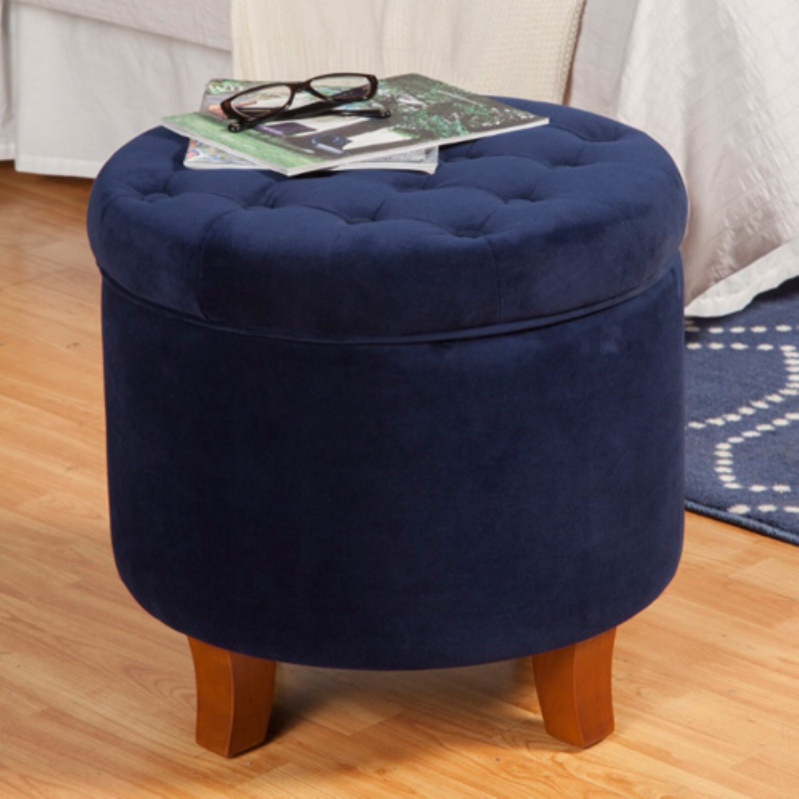 HomePop Large Round Button Tufted Storage Ottoman, Multiple Colors