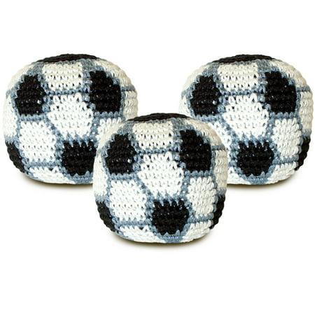 Soccer Crocheted Footbag Hacky Sack 3 pack