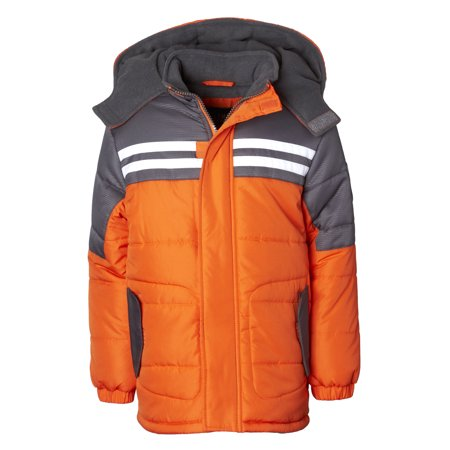 Hooded Striped Colorblock Puffer Jacket Coat (Baby Boys & Toddler Boys)