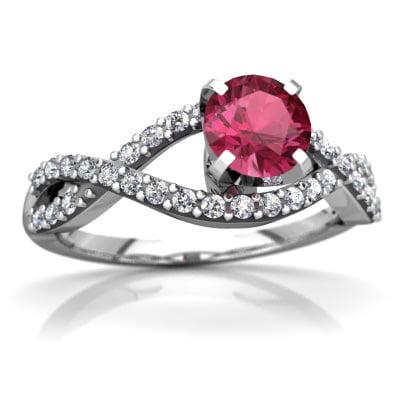 Pink Tourmaline Diamond Twist Ring in 14K White Gold by