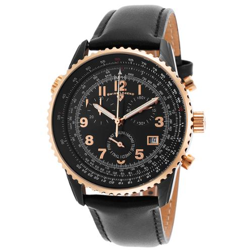 Swiss Legend Skyline Chrono Black Genuine Leather and Dia...