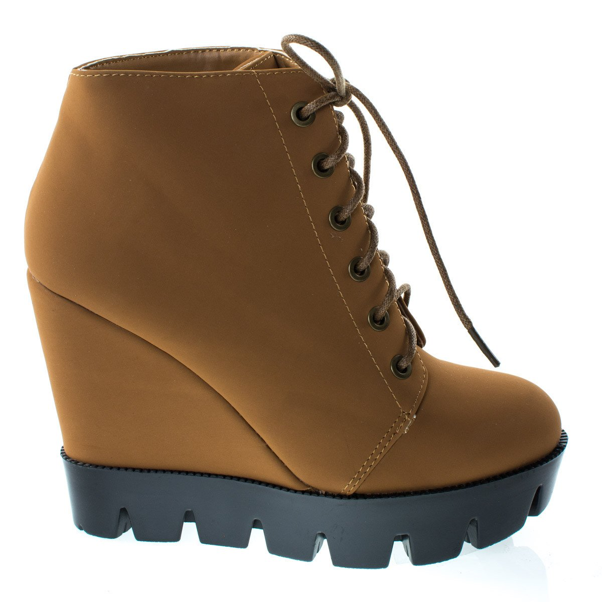 #Tense10 by Bamboo, Black Women Faux Fur Lining Combat Ankle Boots, Hidden Wedge Lug Threaded Sole
