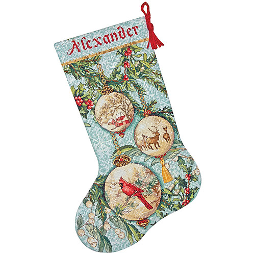 """Dimensions Gold Collection """"Enchanted Ornament"""" Stocking Counted Cross Stitch Kit, 16""""L"""