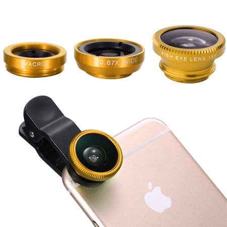 3 in 1 universal mobile phone camera Lens wide+macro+fisheye lenses Clip-on Telescope for iPhone / Smartphones - -