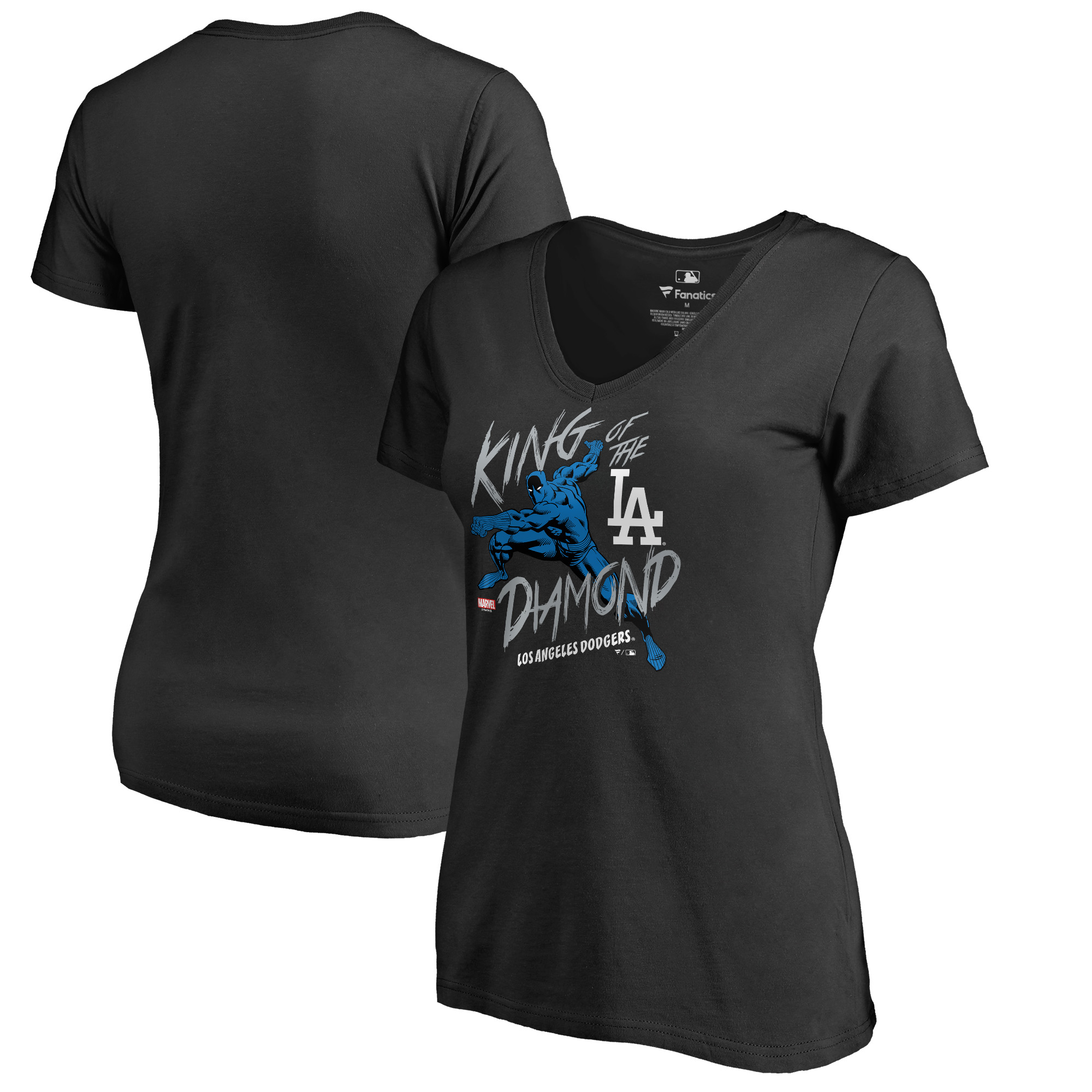 Los Angeles Dodgers Fanatics Branded Women's MLB Marvel Black Panther King of the Diamond V-Neck T-Shirt - Black